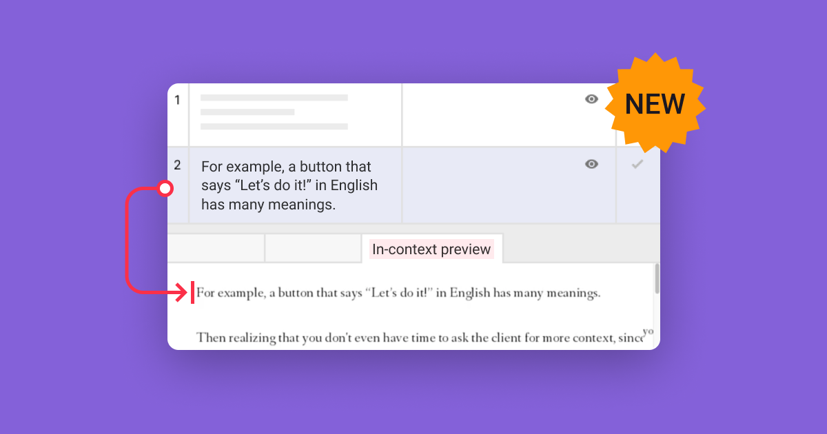 In-context preview gives translators a visual guide so they can see the source text in its original layout.